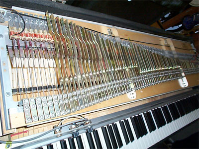 Inside a Rhodes electric piano